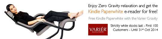 Varier Gravity Special Offer - Enjoy zero gravity relaxation and get the new Kindle Paperwhite e-reader for free! Strictly while stocks last - First 100 Customers