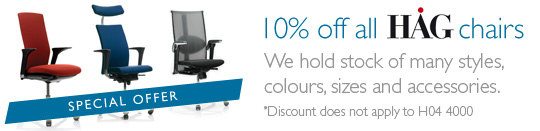 10% of all HAG chairs - We hold stock of many styles, colours, sizes and accessories.