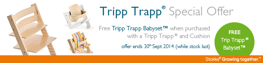 Tripp Trapp Special Offer - Free Tripp Trapp Babyset™ when purchased with a Tripp Trapp ® and Cushion.