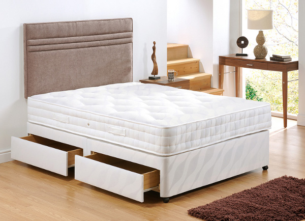 Ardennes king size adjustable divan with foot side drawers for King size divan bed sale